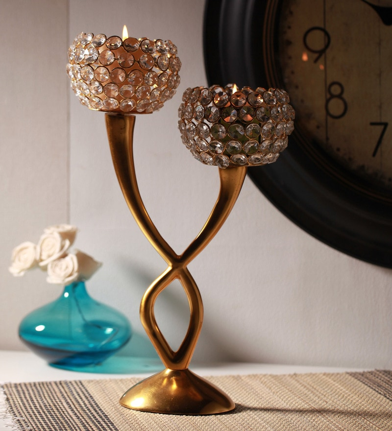Gold Iron Traditional Candle Holder by @ Home