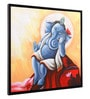 Canvas & Wood 33.5 x 1.6 x 33.5 Inch Ganpati Religious Framed Painting by @ Home