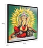 Canvas & Wood 33.5 x 1.6 x 33.5 Inch Ganpati Virajman Religious Framed Painting by @ Home