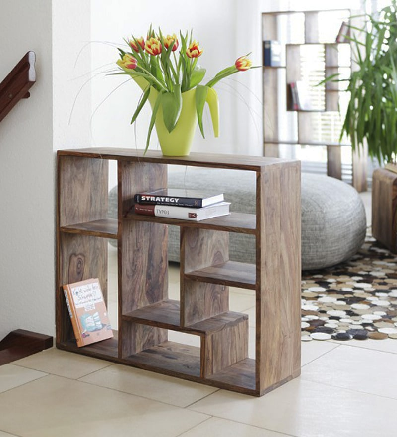 Display Unit Cum Book Shelf In Natural Polish By Wood