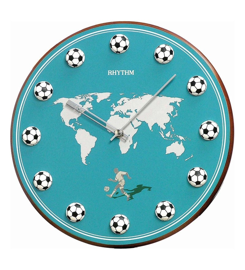 11.8 x 1.5 x 11.8 Inch Wall Clock 3D Football Index Analog Clock by Rhythm