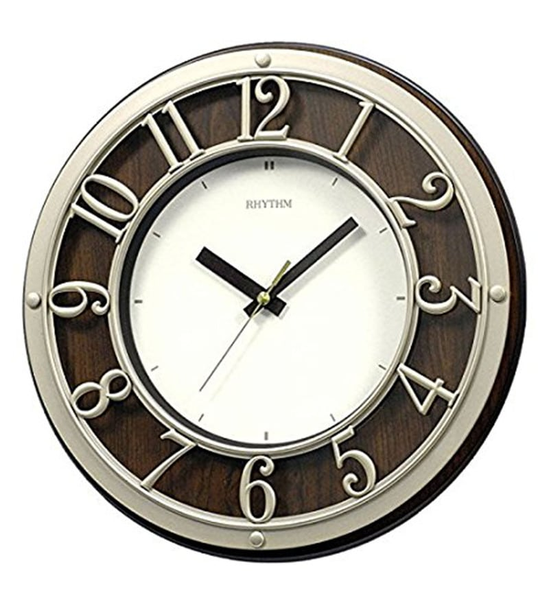 12.2 x 1.8 x 12.2 Inch Wall Clock 3D Dial Ring Silent Silky Move Analog Clock by Rhythm