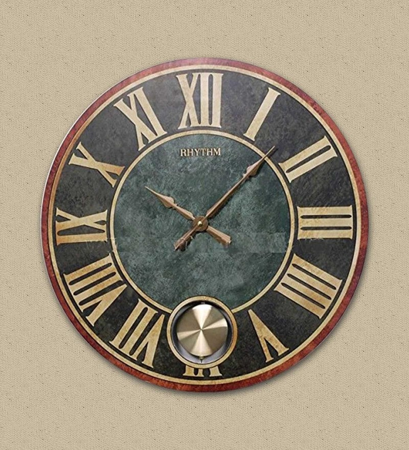 22 x 1.8 x 22 Inch Wall Clock Pendulum Roman Analog Clock by Rhythm