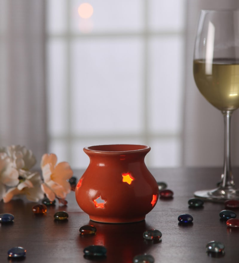 Orange Metal Tea Light Holder by Gupta Glass Gallery