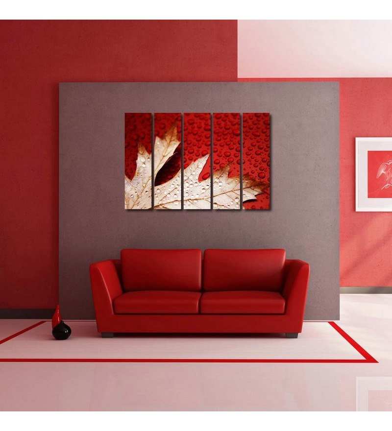 Sun Board 10 x 29 Inch Modern Leaf Art Durable Painting - Set of 5 by 999Store