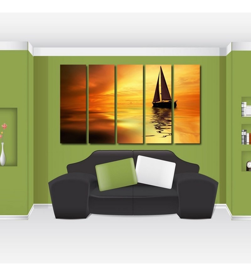 Sun Board 10 x 29 Inch Ship In The Sea Sturdy Wall Art - Set of 5 by 999Store