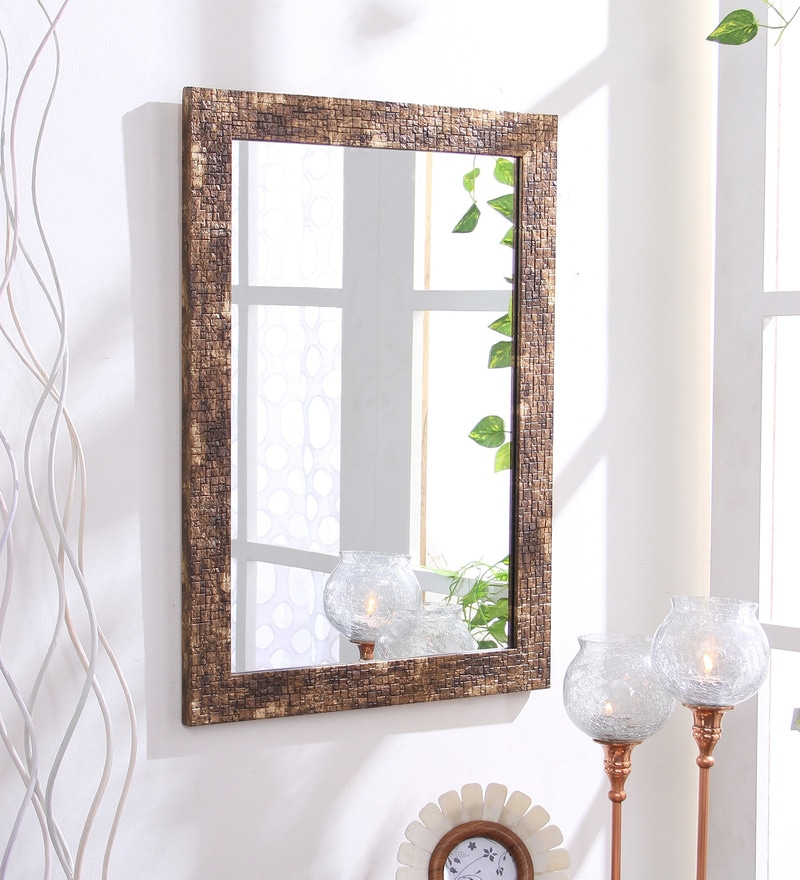 Brown Fibre Decorative Wall Mirror by 999Store