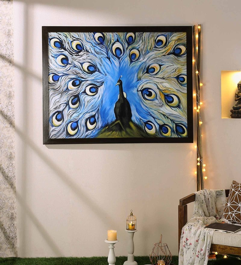 Canvas 53 x 1 x 39 Inch Beautiful Peacock Decorative Artwork Acrylic Paintings on Canvas by 999Store