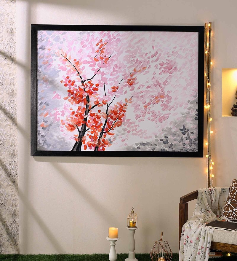 Canvas 53 x 1 x 39 Inch Pink Leaves Tree Modern Decorative Artwork Acrylic Paintings by 999Store