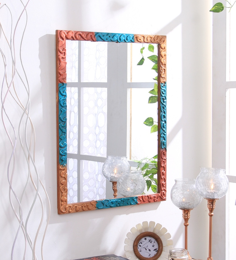Multicolour Wooden Handmade Decorative Zigzag Lines Mirror by 999Store