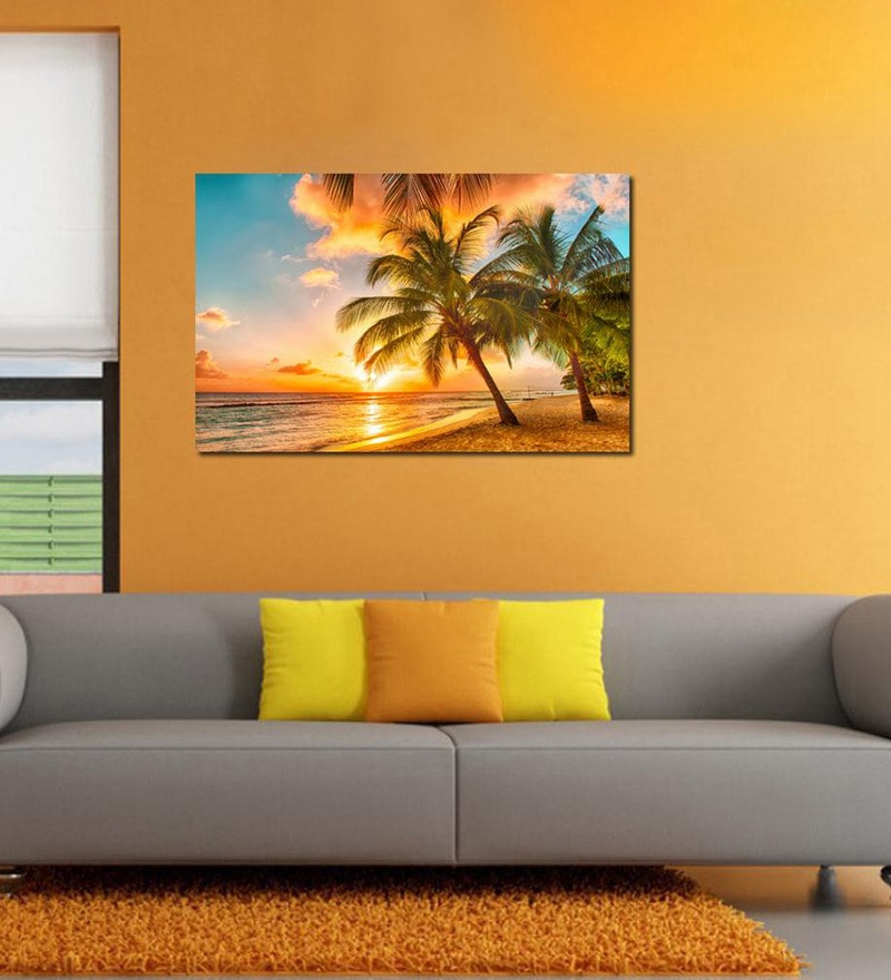 Cocunut Trees Pvc Vinyl 35 x 24 Inch Wooden Framed Digital Art Print by 999Store