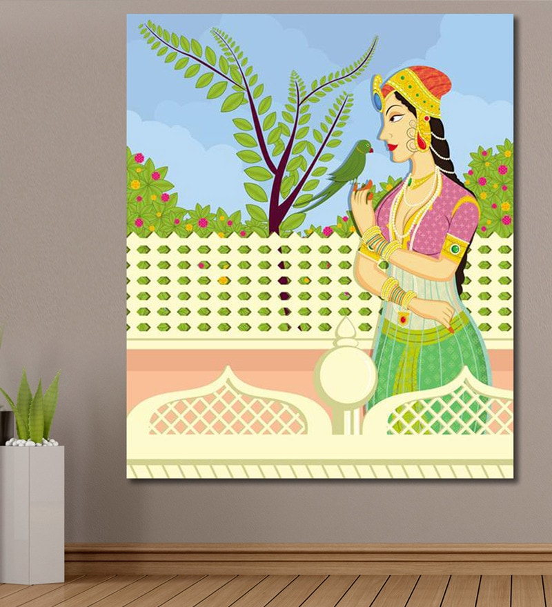 Vinyl 60 x 0.4 x 72 Inch Queen with Parrot in Indian Painting Unframed Digital Art Print by 999Store