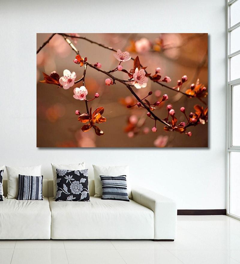 Vinyl 72 x 0.4 x 48 Inch Beautiful Flowering Japanese Cherry Sakura Painting Unframed Digital Art Print by 999Store