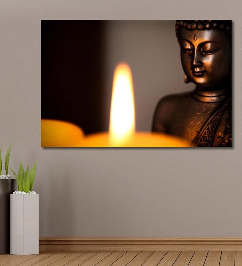 Vinyl 72 x 0.4 x 48 Inch Buddha Statue & Candle Light Painting Unframed Digital Art Print by 999Store