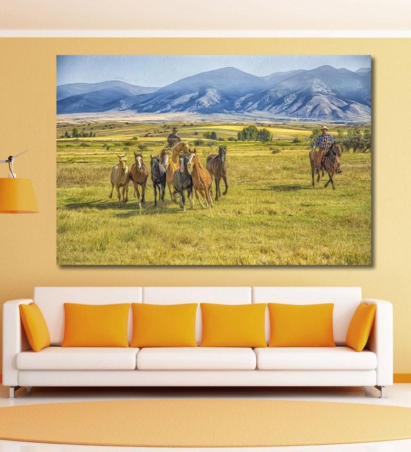 Vinyl 72 x 0.4 x 48 Inch Cowboys Rounding Up Wild Horses Painting Unframed Digital Art Print by 999Store
