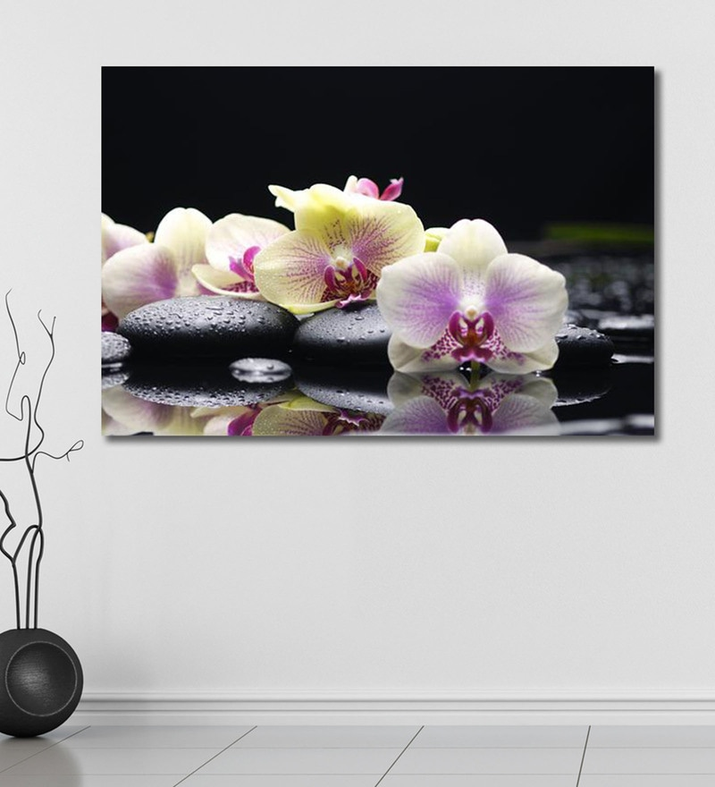 Vinyl 72 x 0.4 x 48 Inch Lily Flowers Painting Unframed Digital Art Print by 999Store