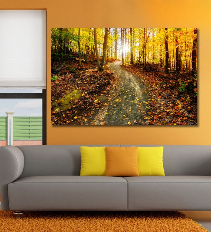 Vinyl 72 x 0.4 x 48 Inch Sun Shining Through The Trees on A Path in A Golden Forest Painting Unframed Digital Art Print by 999Store