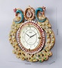 Multicolour Wooden 16 x 0.4 x 16 Inch Royal Hand Crafted Antique Peacock Clock by 999Store