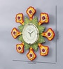 999Store Multicolour Wooden 18 Inch Round Royal Hand Made Antique Decorative Designer Flower Clock