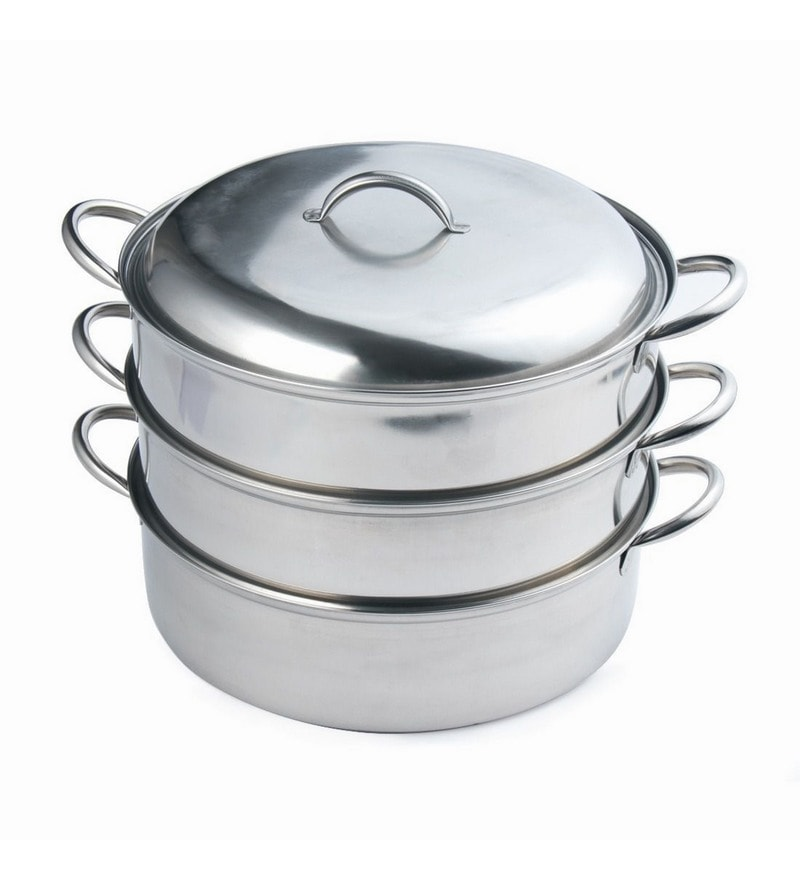 A-Plus Induction Based 7.08 Inch Stainless Steel 3 Tier Multi Purpose Steamer with Lid