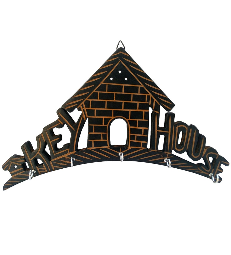 Brown Wooden House Key Hanger by Aarsun Woods