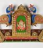 Aapno Rajasthan Multicolour Wood & Clay Shree Ganesh & Twin Peacock Key Holder