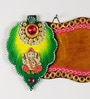 Multicolour Wood & Clay Shree Ganesh Name Board Wall Hanging by Aapno Rajasthan