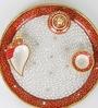 Red & White Marble Pooja Thali by Aapno Rajasthan