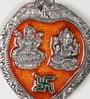 Silver & Red Metal Laxmi Ganesh Idols with Swastik Motif Wall Hanging by Aapno Rajasthan