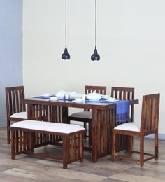 Abbey Six Seater Dining Set With Bench In Provincial Teak Finish