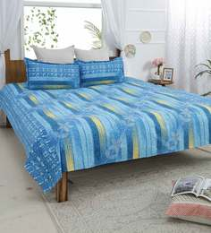 Abstract Pattern 145 TC Cotton Queen Size Bedsheet With Two Pillow Covers  ...