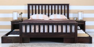 Abbey Queen Bed With Drawer Storage In Warm Chestnut Finish