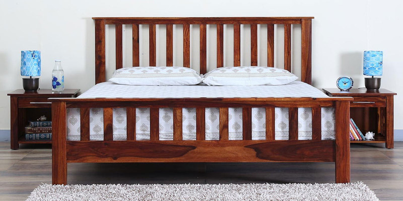 Abbey Solidwood Queen Bed in Honey Oak Finish by Woodsworth