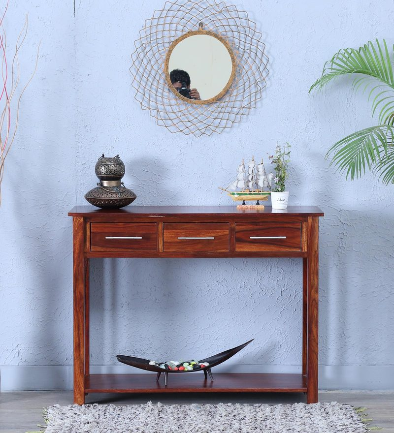 Abbey Console Table in Honey Oak Finish by Woodsworth