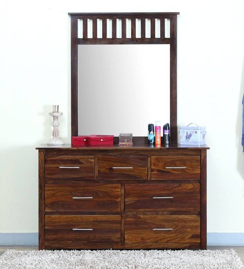Abbey Dressing Table with Mirror in Provincial Teak Finish by Woodsworth