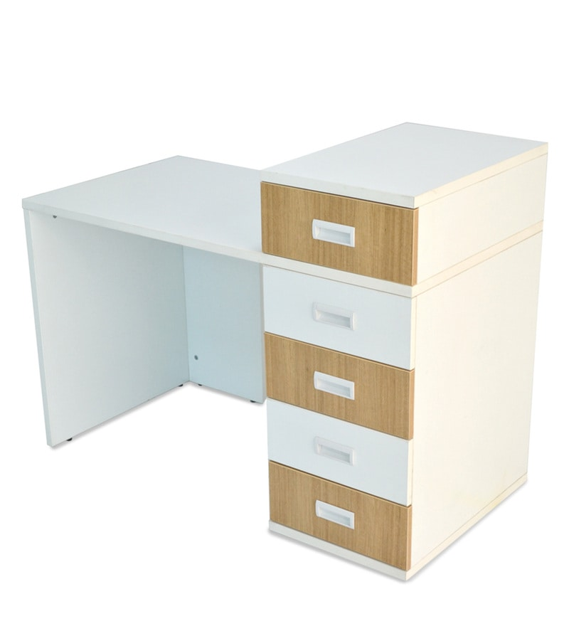 buy abby study table with drawers iii in urban teak white