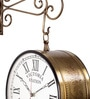 Brown Iron 14 x 9 x 14 Inch Victoria Carving Double Sided Wall Clock by Zahab