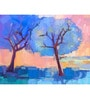 Hashtag Decor Colorful Landscape Engineered Wood 6 x 18 Inch Framed Art Panel