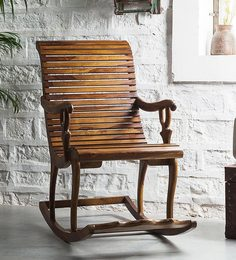 Acklom Solid Wood Rocking Chair In Provincial Teak Finish