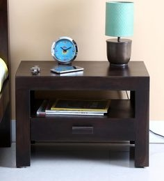 Acropolis Solid Wood Bed Side Table In Warm Chestnut Finish