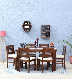 Acropolis Cushioned Six Seater Dining Set In Provincial Teak Finish