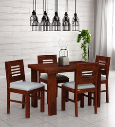 8c56f606790 Acropolis Solid Wood Cushioned Four Seater Dining Set in Honey Oak Finish
