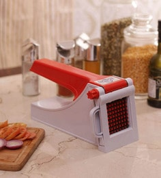 Action Virgin Plastic French Fry Cutter In Red & White With Stainless Blades