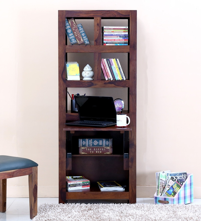 Acropolis  Folding Study & Laptop Table with Bookshelf in Provincial Teak Finish by Woodsworth