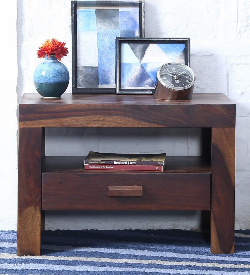 Acropolis Bed Side Table in Provincial Teak Finish by Woodsworth