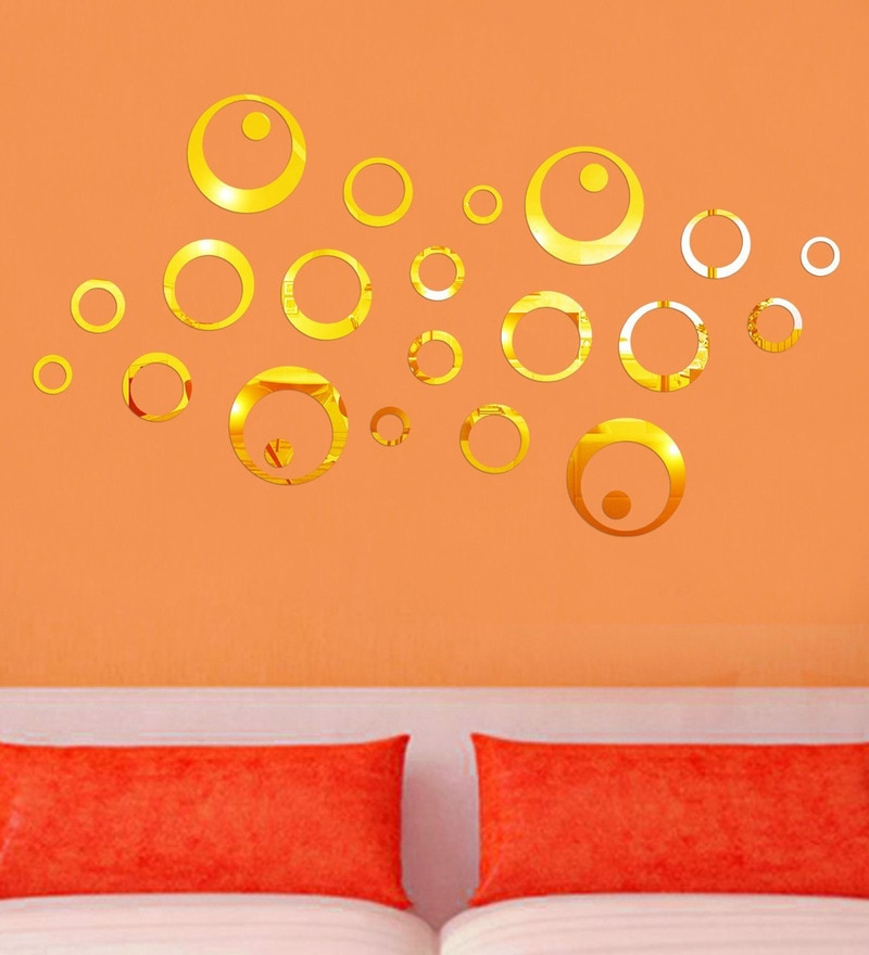 Acrylic 24 Gold Rings Wall Decals By Sehaz Artworks