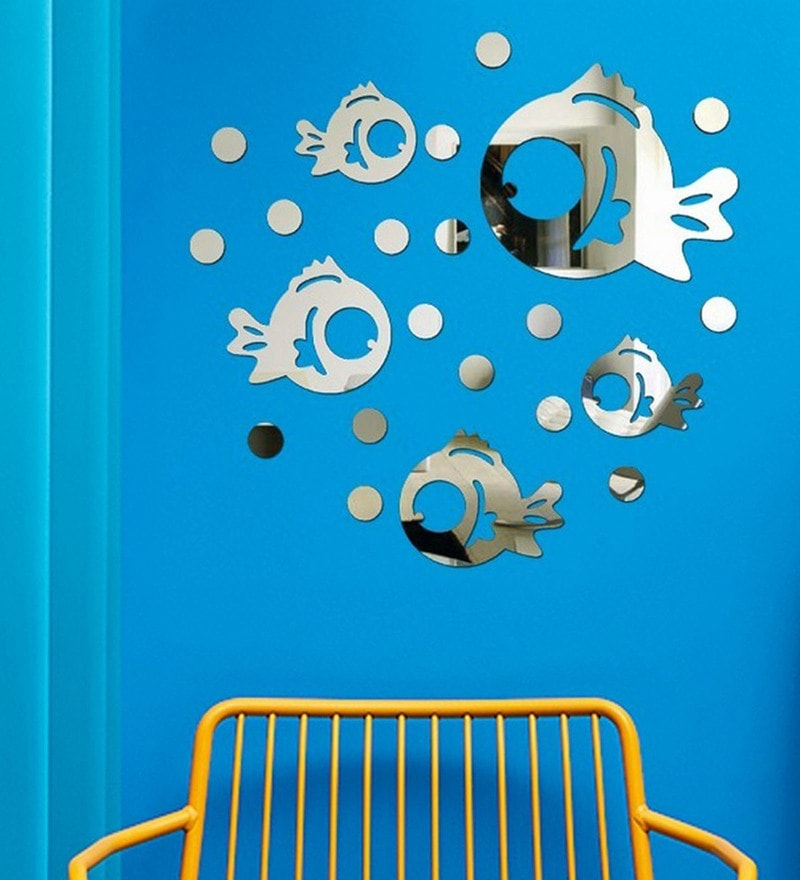 Acrylic Silver Fish Wall Decals by Sehaz Artworks