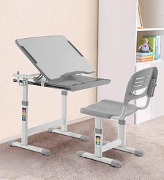 Adjustable Study Table & Ergonomic Chair Set With Auto Height Lock, Tiltable Desk And Child Safe Features In Grey Color