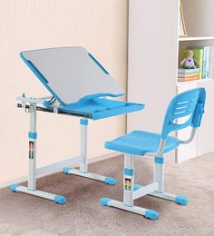 Adjustable Study Table & Ergonomic Chair Set With Auto Height Lock, Tiltable Desk And Child Safe Features In Blue Color