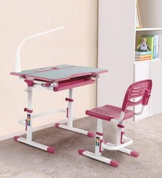 Adjustable Study Table & Ergonomic Chair Set With Book Stand And Night Study LED Lamp In Pink Color